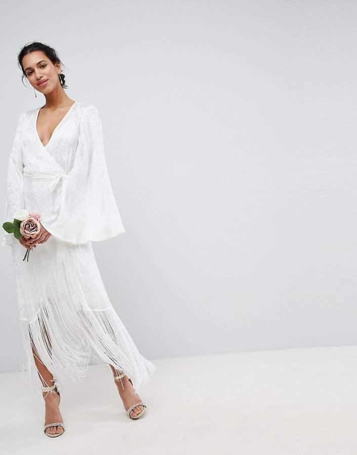 6914a230a90035 ASOS Edition ASOS EDITION Fringe Wrap Wedding Maxi Dress | Hair ...