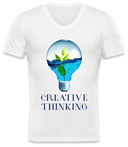 Creative Thinking Lamp Bulb Unisex V-neck T-shirt Small