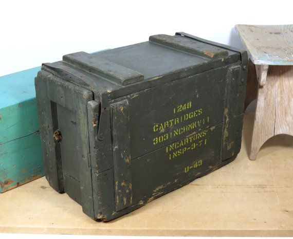 Army Military Wooden Ammo Box Crate Rustic Display Upcycle Vintage Case Tool Box
