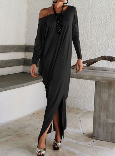 women-s-long-sleeve-one-shoulder-solid-maxi-dresses