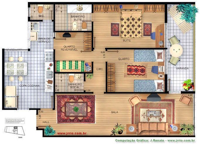 Fully funished floor plan rendering architectural for Rendered floor plan