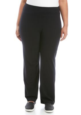 Zelos Women Plus Size Solid Cotton Pants True Black 2x Cotton Pants Athletic Pants Pants