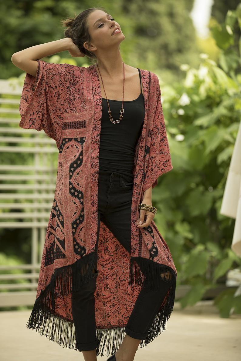 Women Plus Size Kimono, Fringe Bohemian Cardigan,