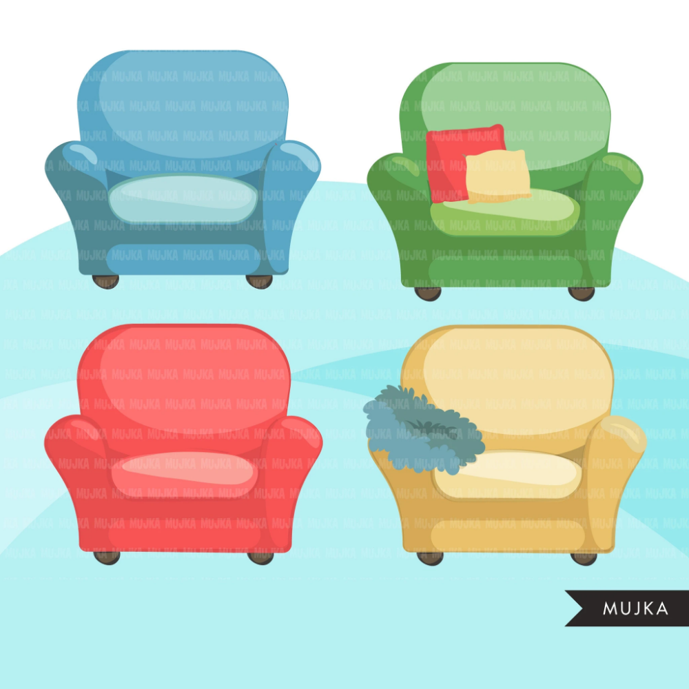 Sofa And Armchairs Clipart Cute Furniture Lounge Chair Lazy Boy Cushions Pillows And Couches Graphics Commercial Use Png Clip Art In 2020 Cute Furniture Lazy Boy Pillows
