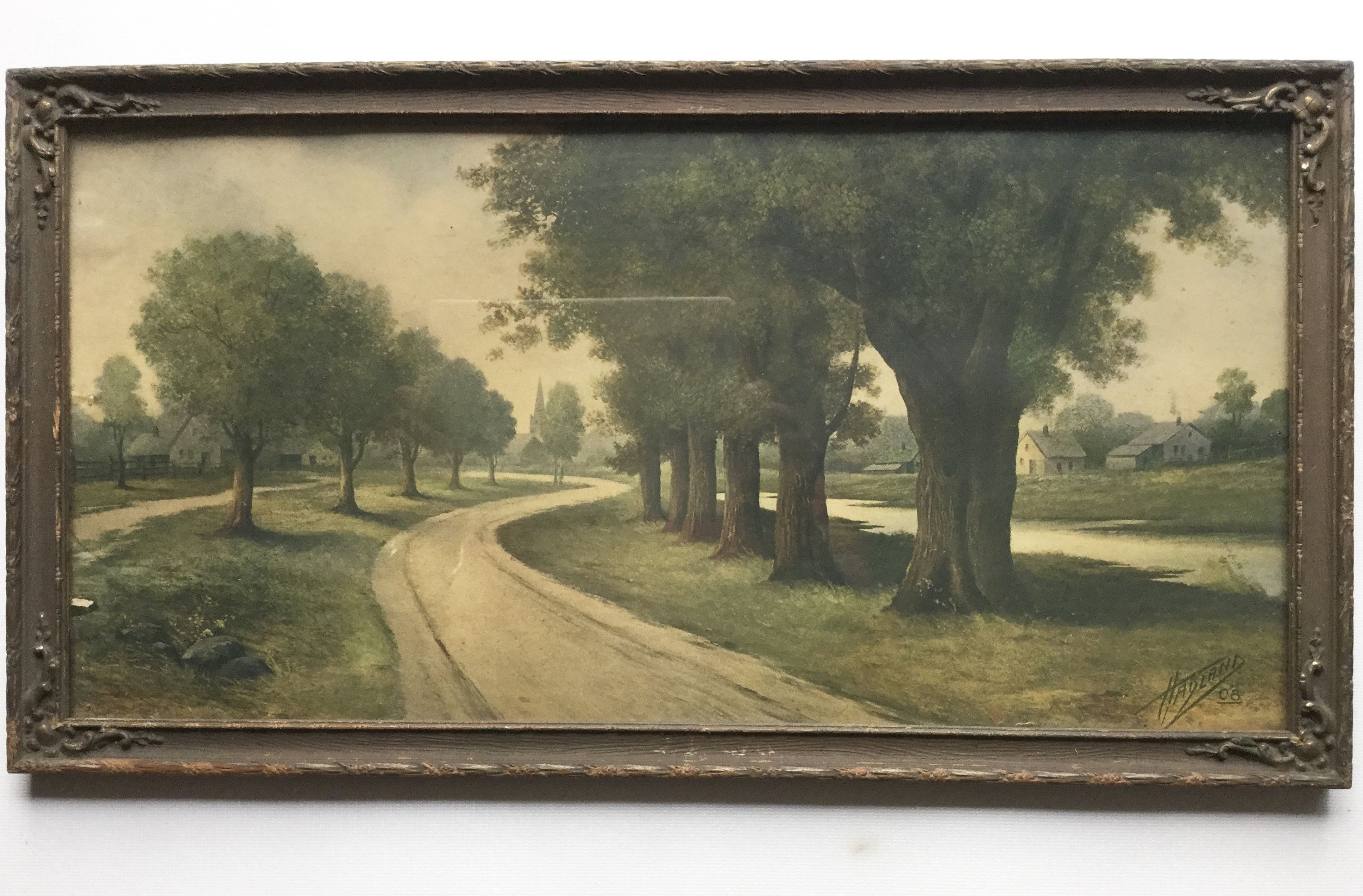 Antique Framed Art Print Signed Hadland 08 Tree Lined Road Country