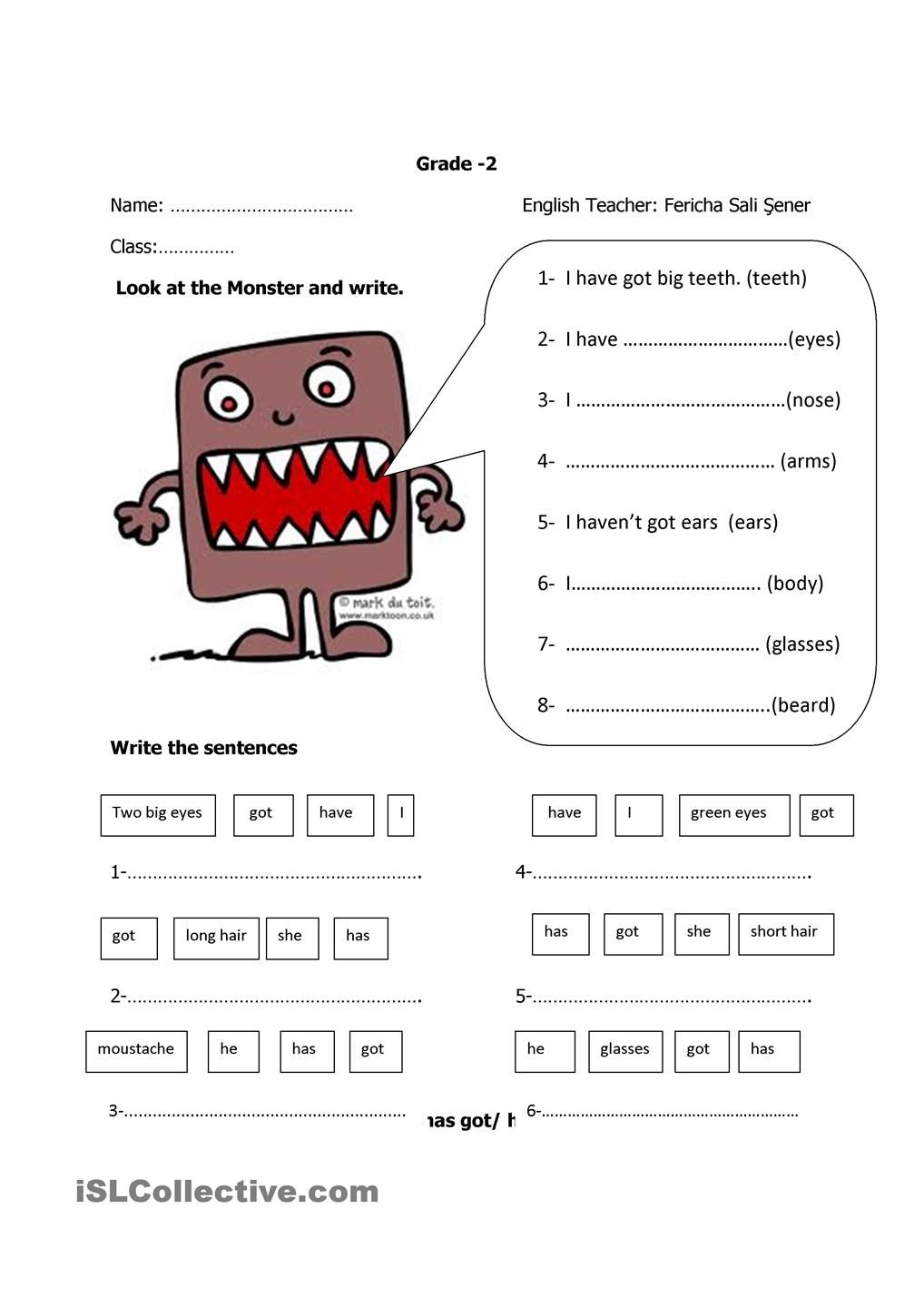 have got /has got | literacy | Pinterest | Englisch