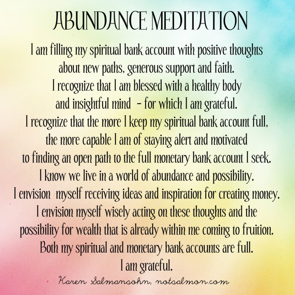 A powerful abundance meditation | Health: Meditation/Prayer