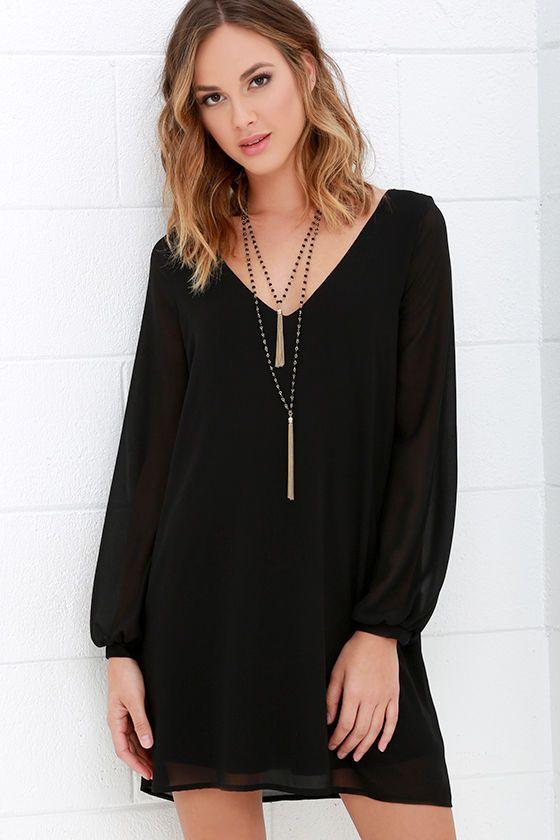 a39b6d0648 Give Me a Shift Black Long Sleeve Dress at Lulus.com! Size- Medium