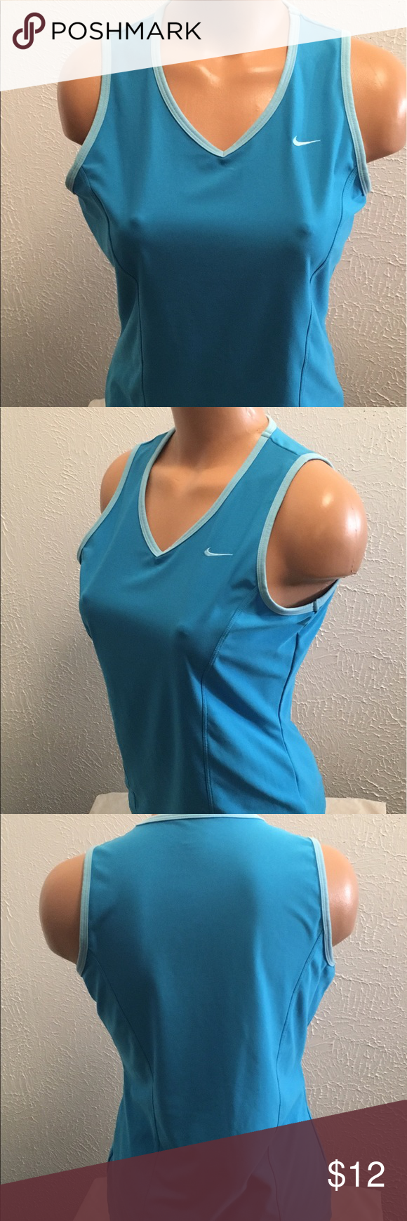 """NIKE Large 12-14 Tank Top Exercise Athletic Blue Nike. Large 12-14. Blue. Tank top. Excellent condition no stains or holes. Stretch. Chest: 37"""". Length: 23 3/5"""". 88% Polyester and 12% spandex. Nike Tops Tank Tops"""