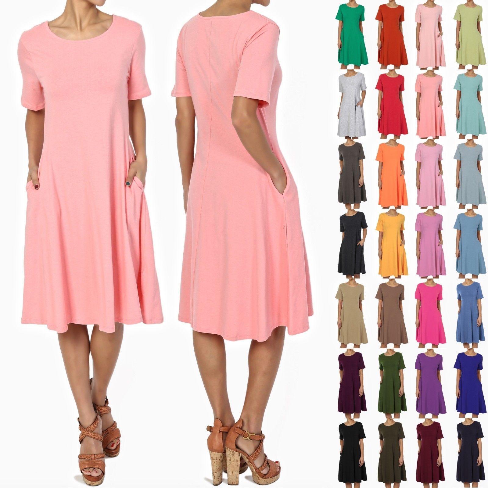 TheMogan SXL Womens Short Sleeve Stretch Cotton Pocket A-line Fit ...