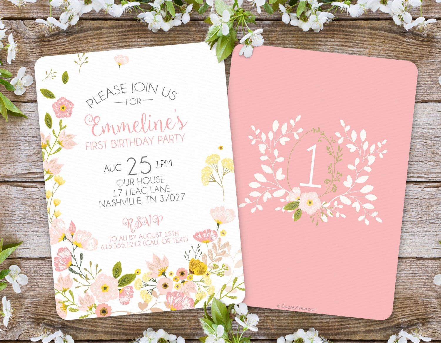 First Birthday Invitation Girl Floral Garden Party 1st By SwankyPress