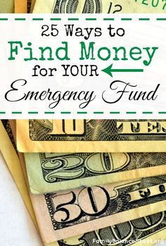"25 Ways to find Money for your Emergency Fund. Got a text from my husband last week: ""truck $700"" YIKES! How will we pay for it? If you can't answer that with ""CASH"", then you need to create an emergency fund. Here's 25 ways to find money for one and they're not crazy ideas either! Start planning for financial success and build your emergency fund TODAY!"