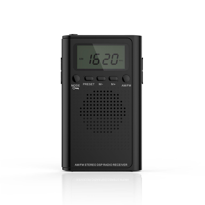 AM FM Pocket Radio,Portable Digital Radio Alarm Clock with Clear ...