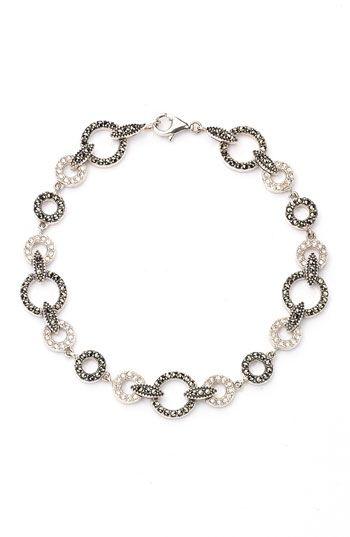 Judith Jack Circle Link Bracelet Austrian Crystals Marcasite Sterling Silver