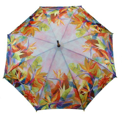 SAVE $18.01 - #April Showers Auto Open Umbrella Collection, Bird of Paradise Print $19.99