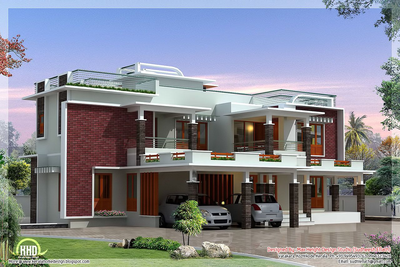 Feet Modern Unique Villa Design Kerala Home Design And Floor Plans Jpg 1280 853 Villa Design Kerala House Design House Architecture Design