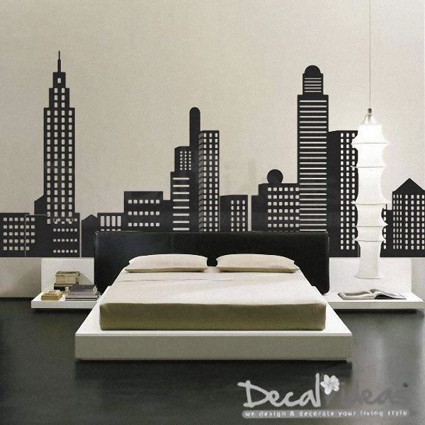 Brooklyn bridge, statue of liberty, empire state. City Skyline Decal City Buildings Skyline Vinyl Wall Decal Sticker Boys Wall Decals Striped Walls Home