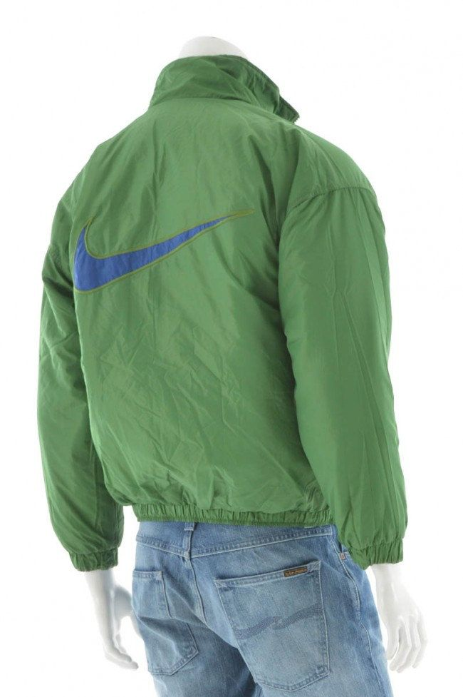 Vintage 90s Nike Swoosh Quilted Reversible Bomber Jacket Green Blue Big  Logo… 346e6d56c