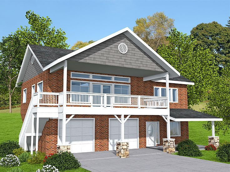 012g 0133 Garage Apartment Plan For A Sloping Lot Carriage House Plans Garage Apartment Plan Garage House Plans