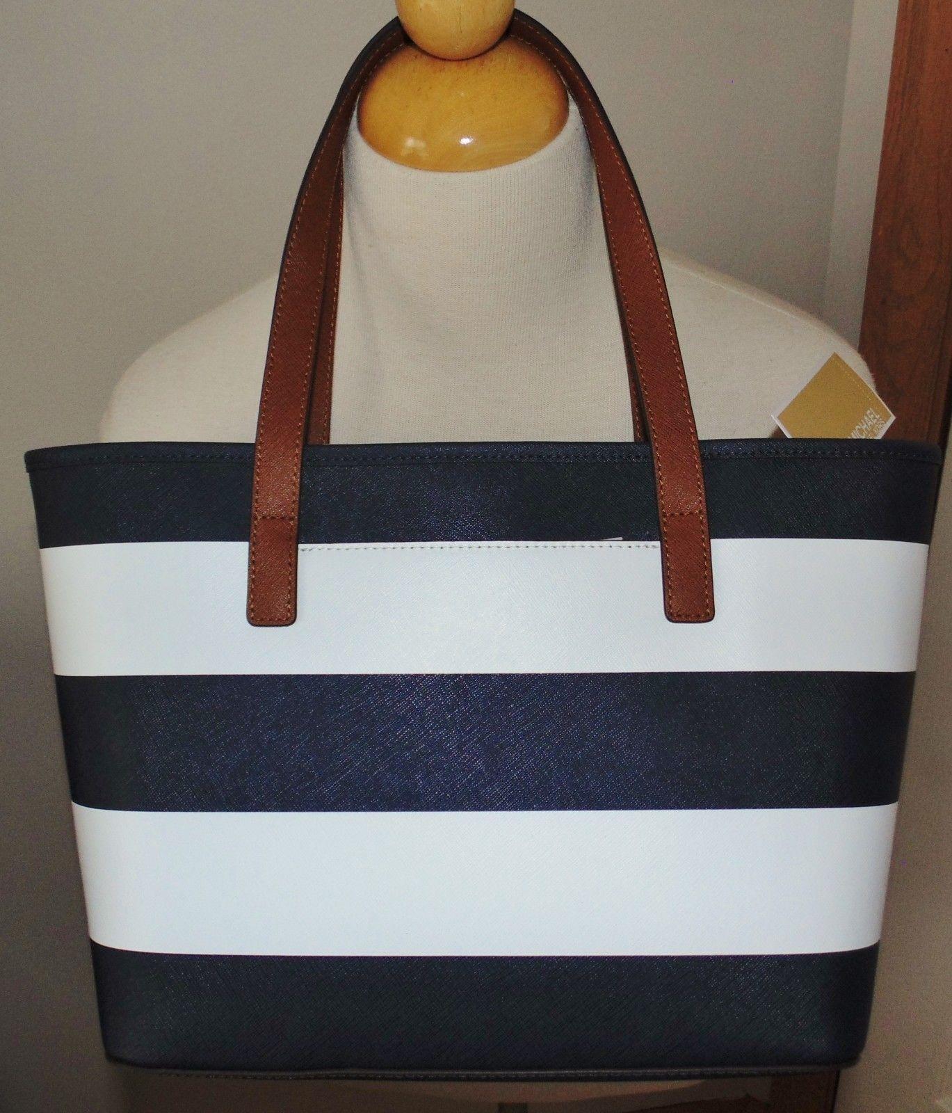 c8e9b504071 New MICHAEL KORS Jet Set navy white Travel Stripe Saffiano Leather TOTE bag   228  147.88