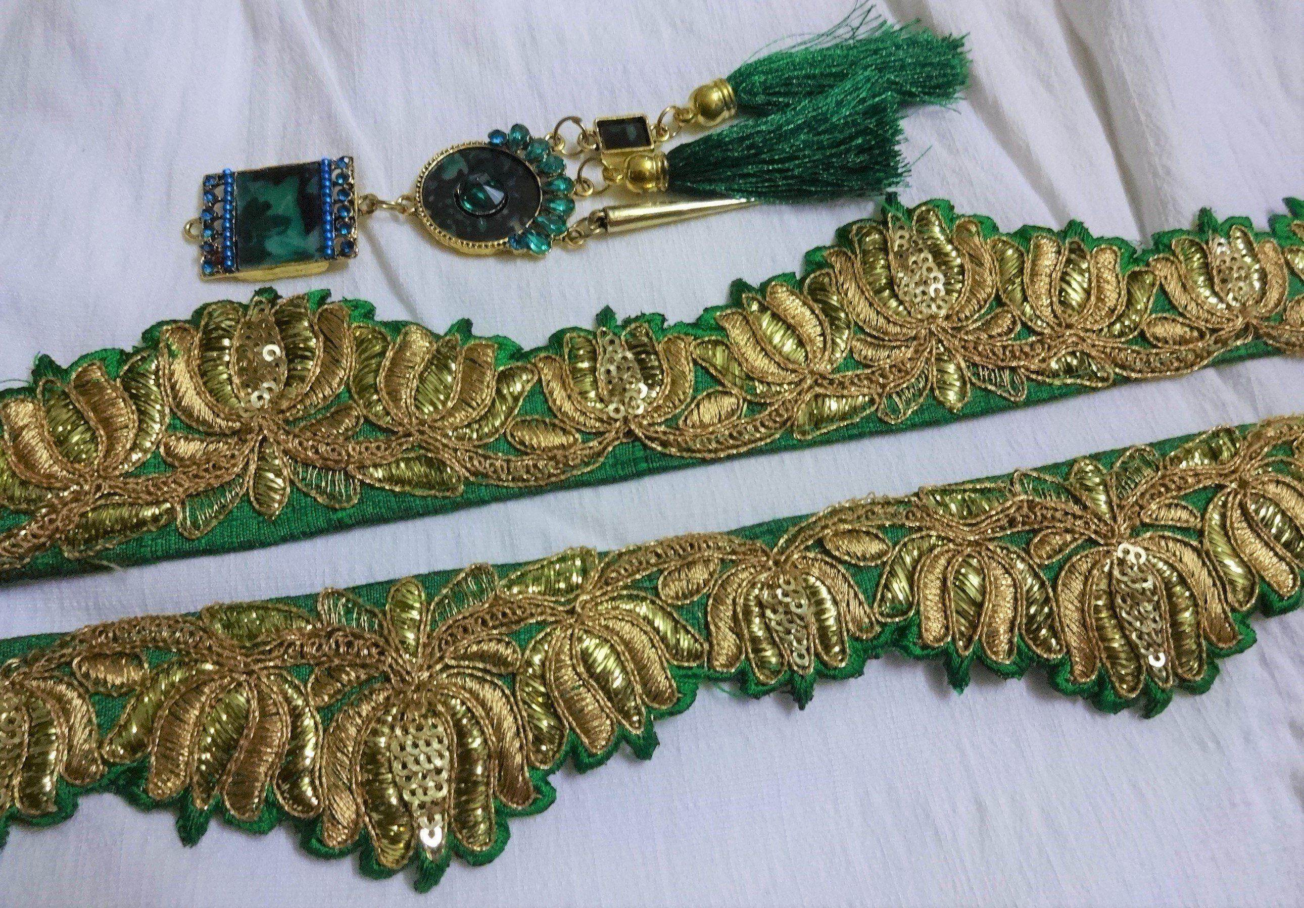 d6fa76fca822 Green Embroidered Cutwork Trim Crafting Fabric Lace Golden Zari Sari ...
