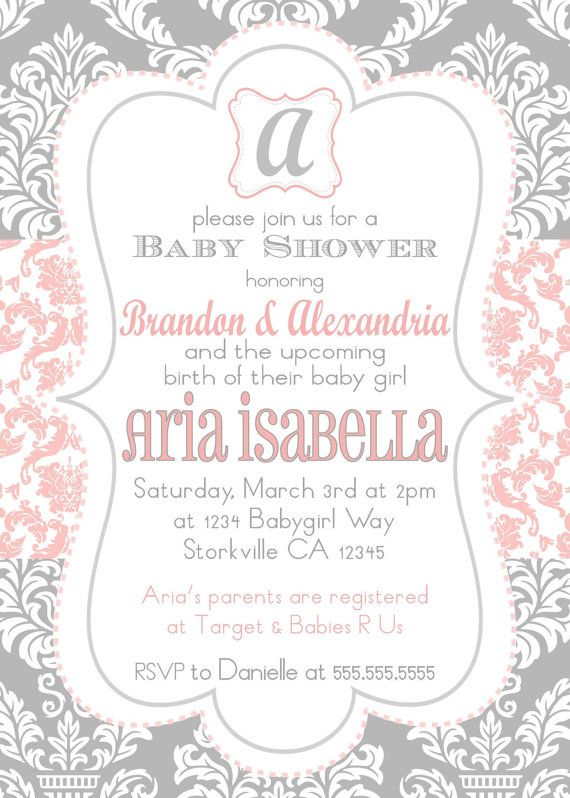 baby girl shower invitation pink gray by pickledoodledesigns
