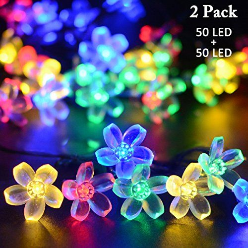 Vmanoo Solar Outdoor Christmas String Lights 21ft 50 LED Fairy - solar christmas decorations
