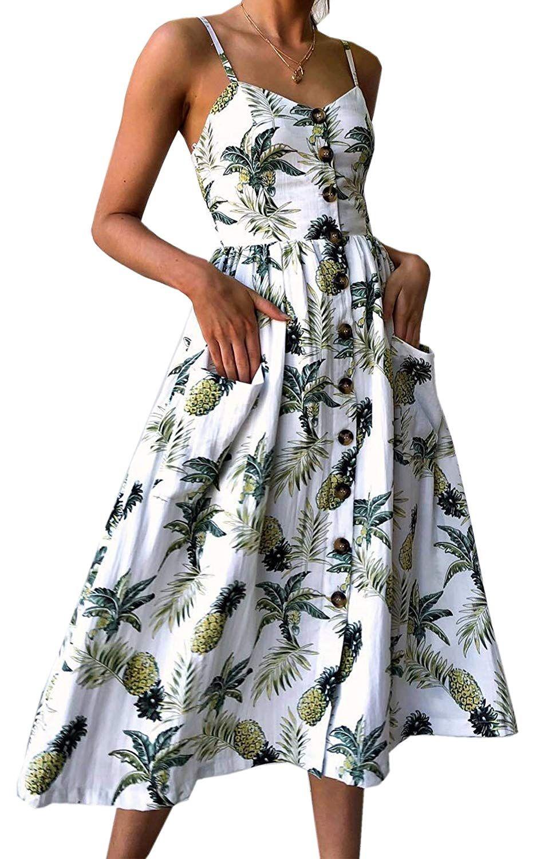 Women Wrap Spaghetti Strap V Neck Button Down High Waist Split White Midi Dress