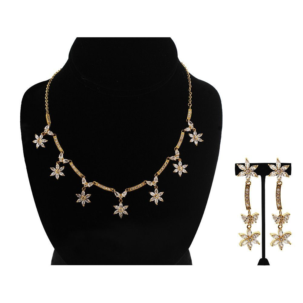 Gold plated clear cubic zirconia earrings adjustable necklace set