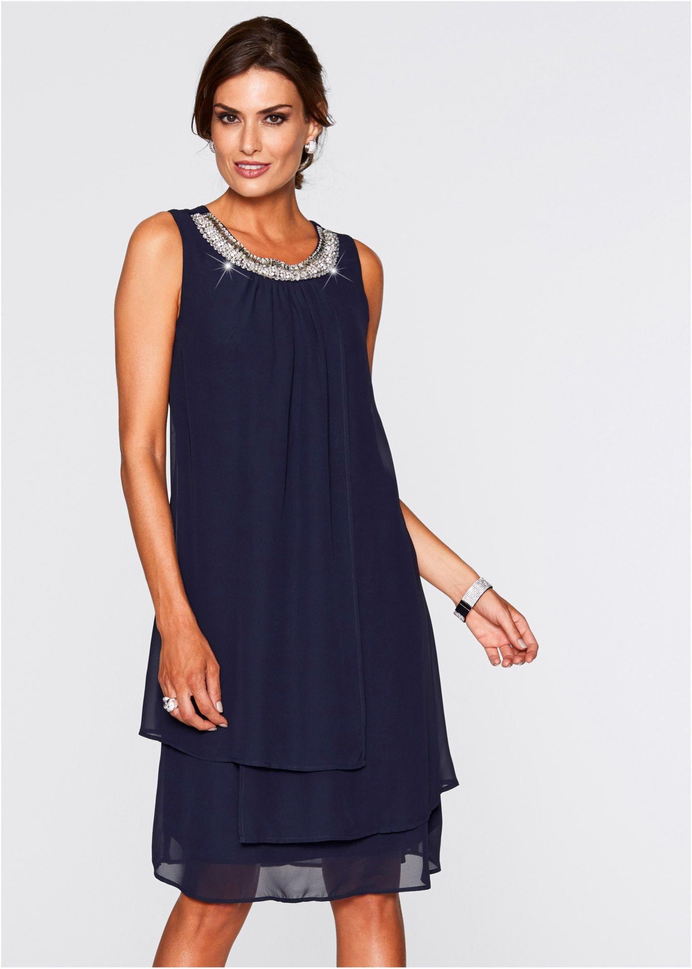wundervolles kleid mit perlen - dunkelblau | kleider für