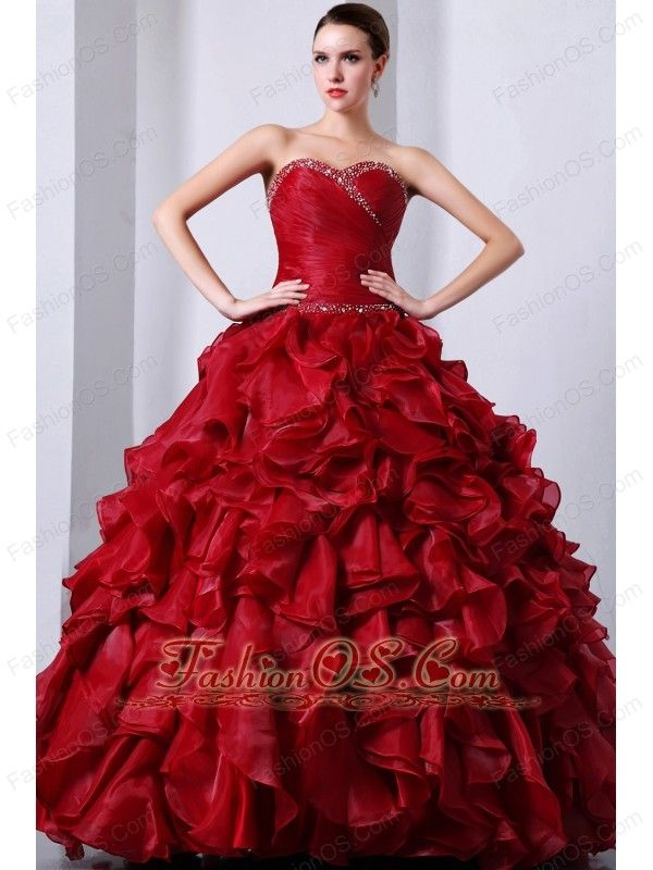f3a0347352 Wine Red Sweet16 Dress Beading and Rufffles A-Line   Princess Sweetheart  Floor-length