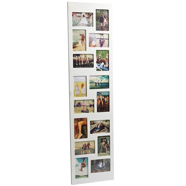 Flat Face 16 Multi Photo Frame   Long White Tower Photo Display