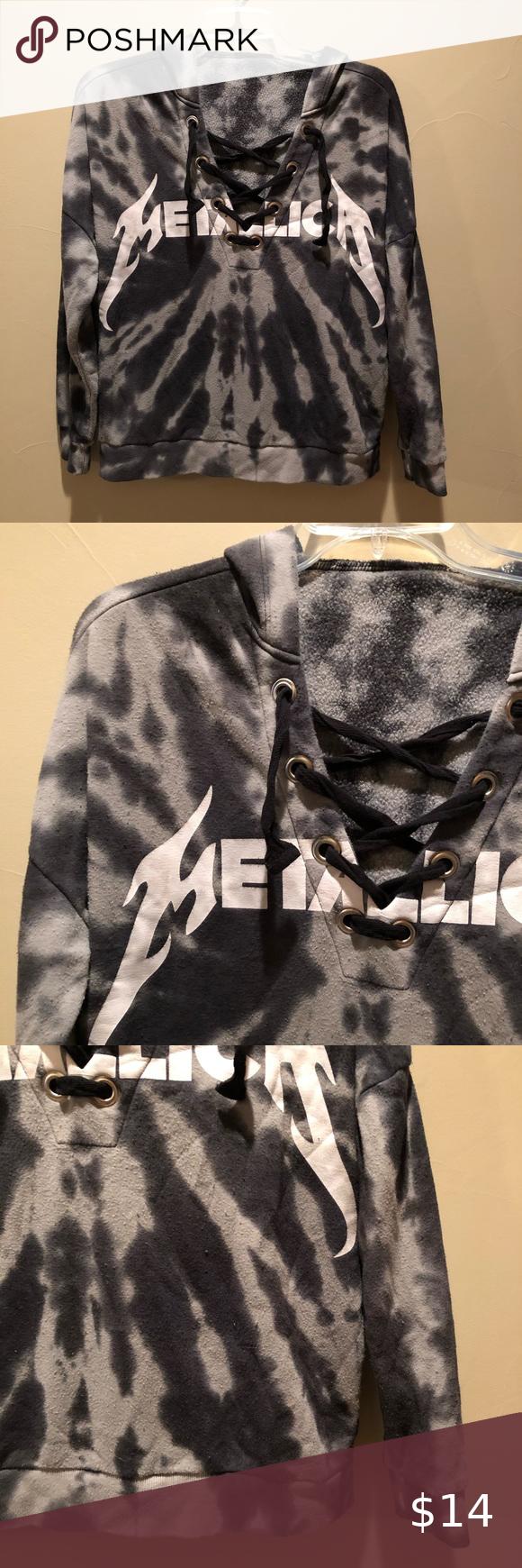 Metallica Tie Dye Lace Up Sweatshirt Sweatshirts Women Sweatshirts Grey Tie Dye [ 1740 x 580 Pixel ]