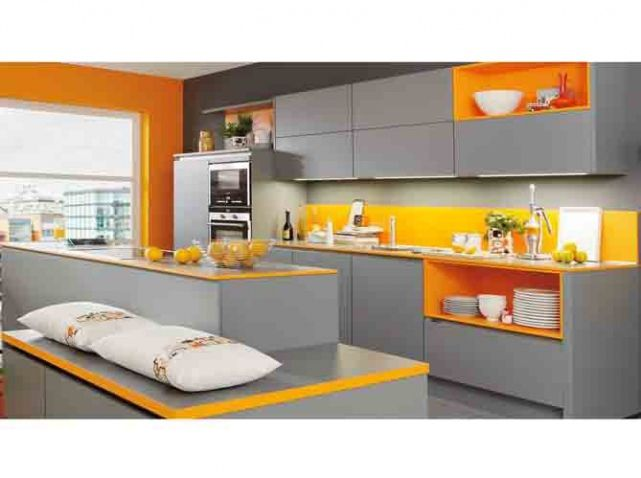 Cuisine grise orange ixina cuisine pinterest d co de for Deco cuisine orange