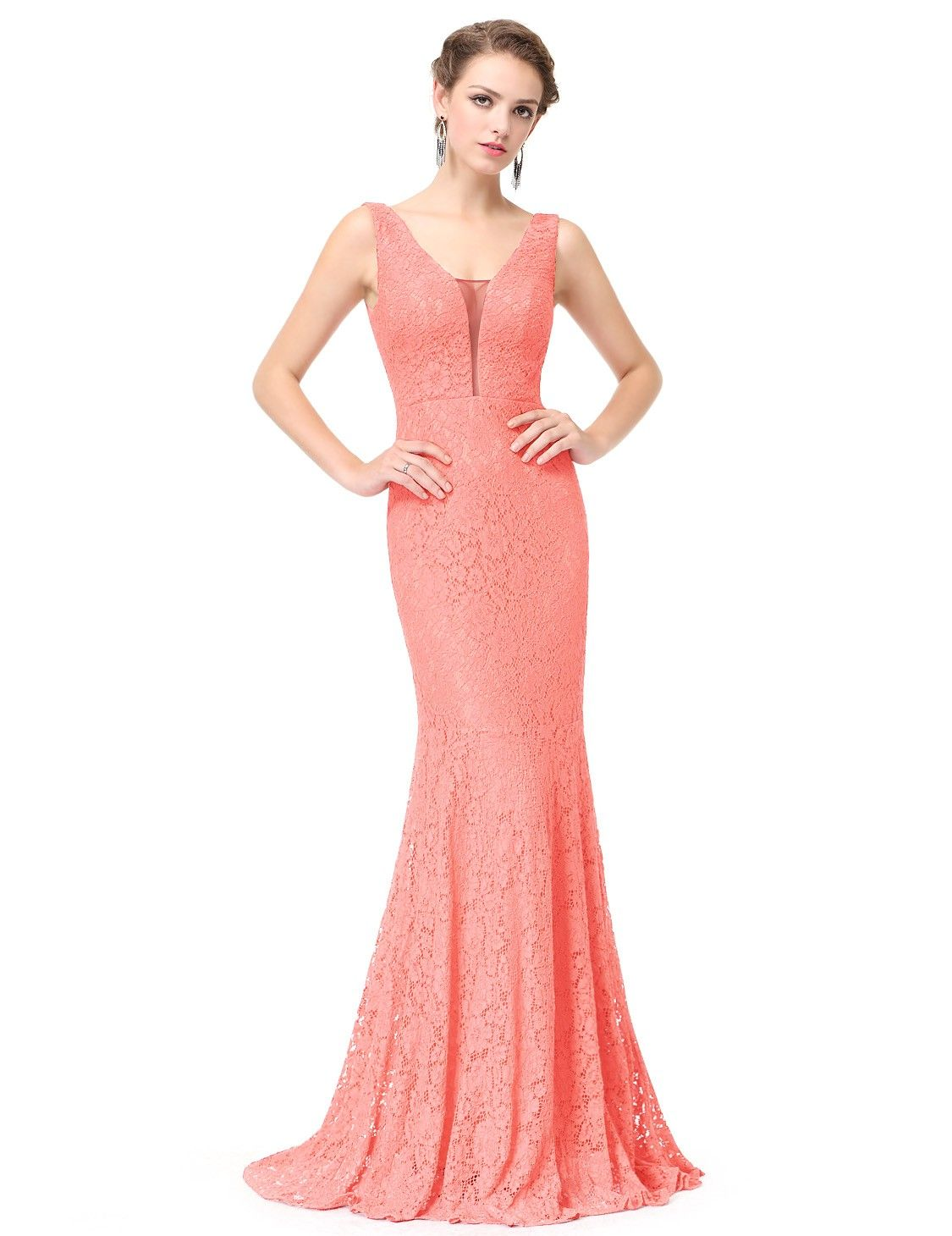 Mermaid Style Evening Dress with Lace