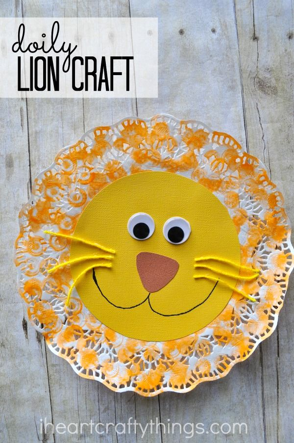 Doily lion kids craft lion craft compliments and zoos for Lion crafts for toddlers