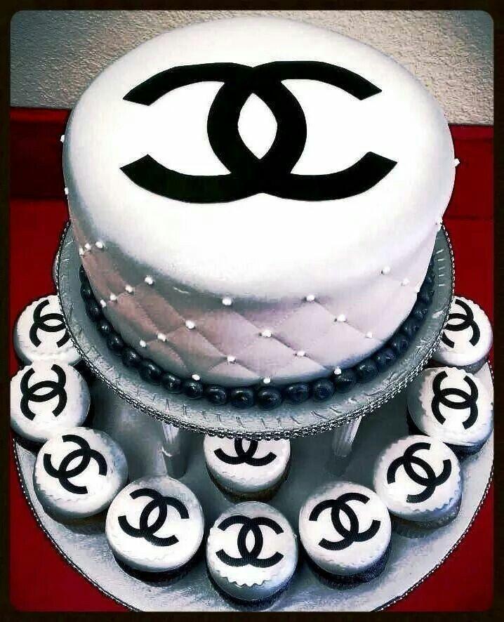 Chanel Cake Designs: White Chanel Cake, Logo, Chanel,cupcakes