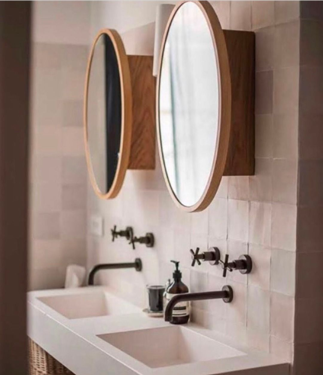 carrelage zellige beige rose miroir