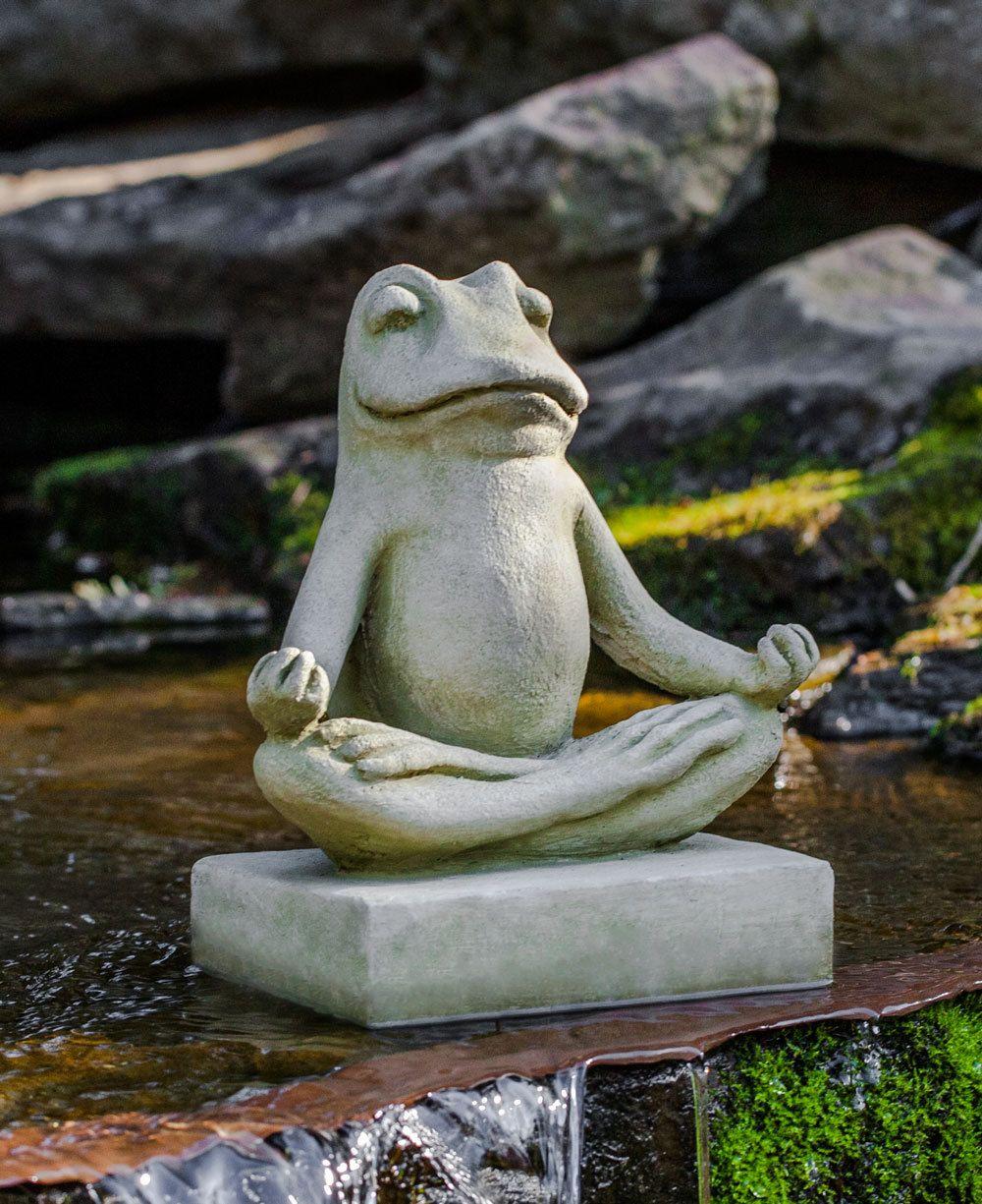 Meditating Zen Frog Garden Statue, Cast Stone