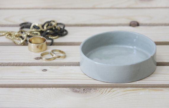 Ceramic jewelry dish in gray and clear glossy glaze. by ONEandMANY
