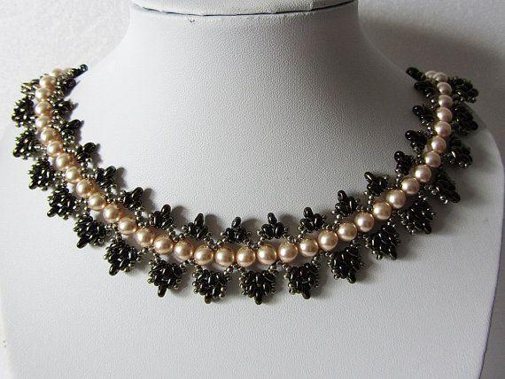 Necklace Pink grapes - Necklace Handmade – Original. elegant, graceful necklace in retro style - Author design- Bead weaving – unique