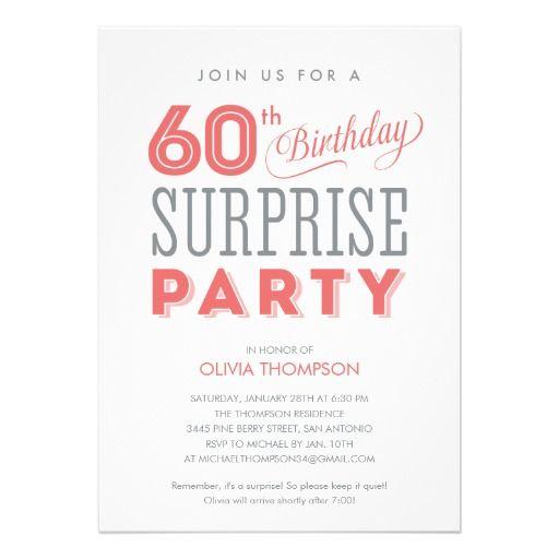 60th Surprise Birthday Invitations Surprise Party Pinterest