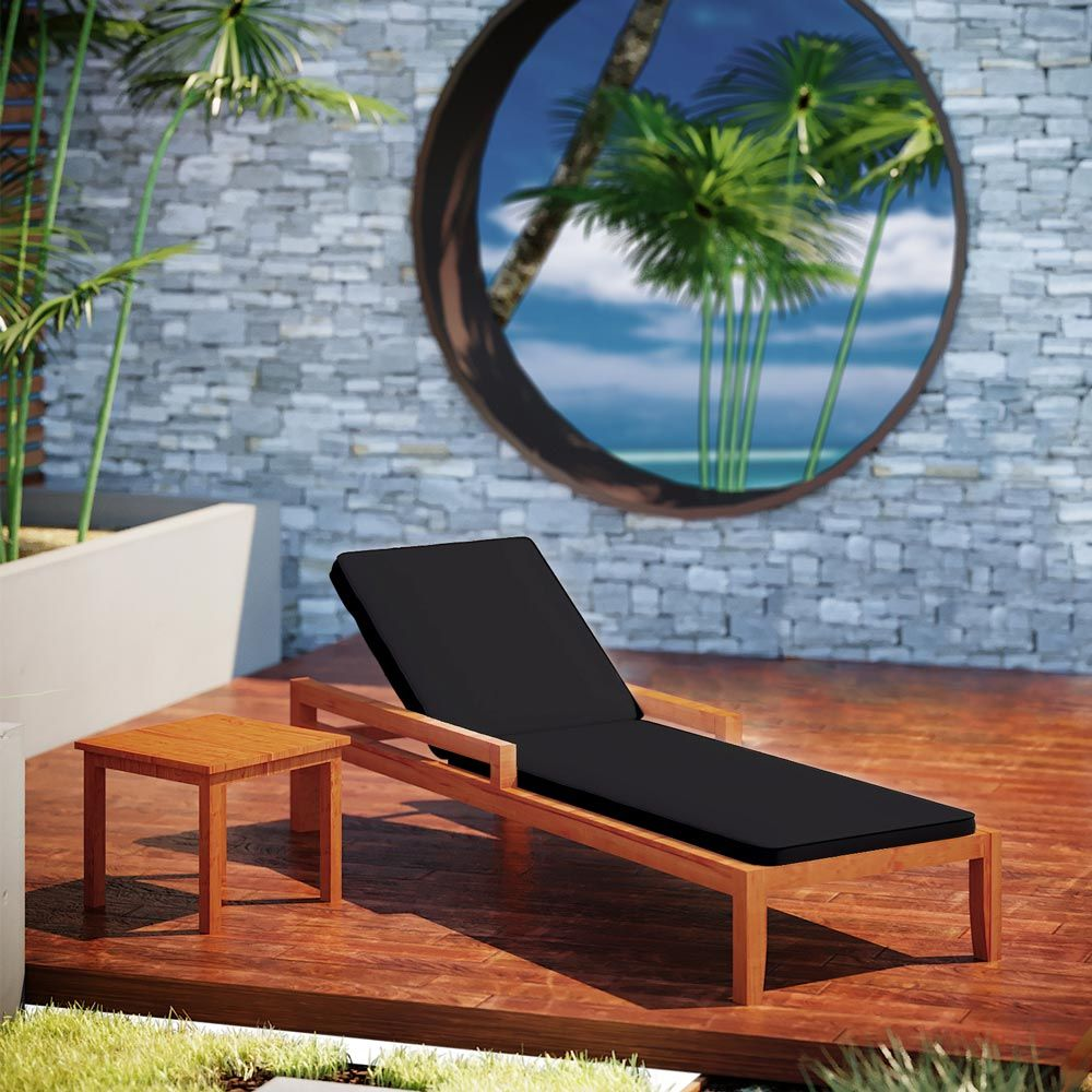 Buy Luxo Martinique Timber Outdoor Sunbed with Black ... on Luxo Living Outdoor id=76738
