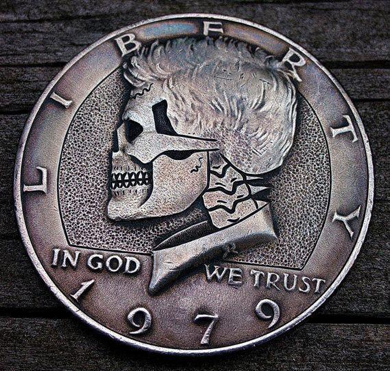 "Skeleton /""Hobo Nickel/"" on Kennedy Half Dollar Coin ** Angel"