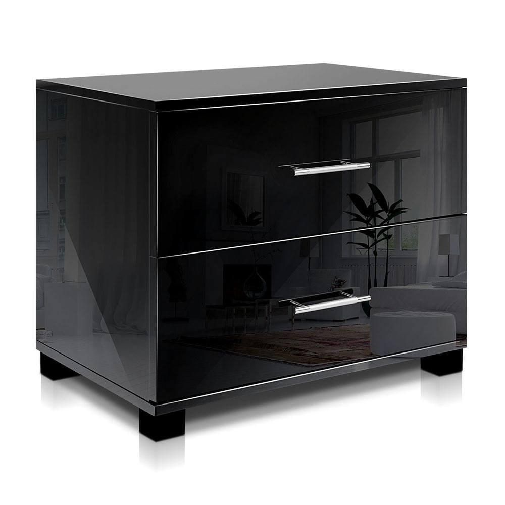 Best High Gloss Two Drawers Bedside Table Black Black 640 x 480