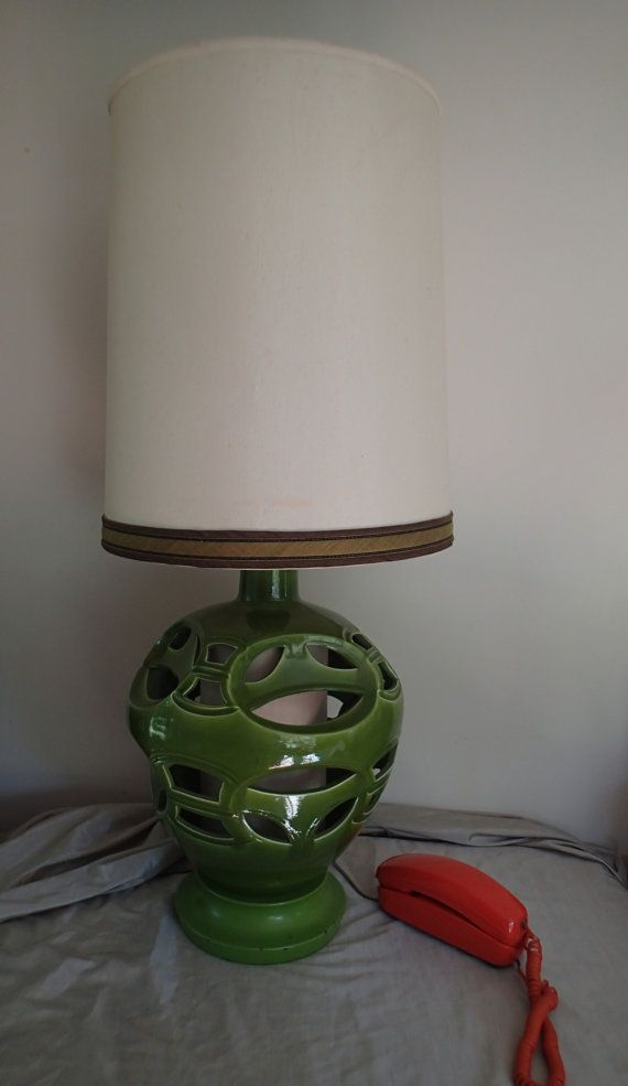 Large Green Table Lamp Avocado green cut out ceramic body, mood ...