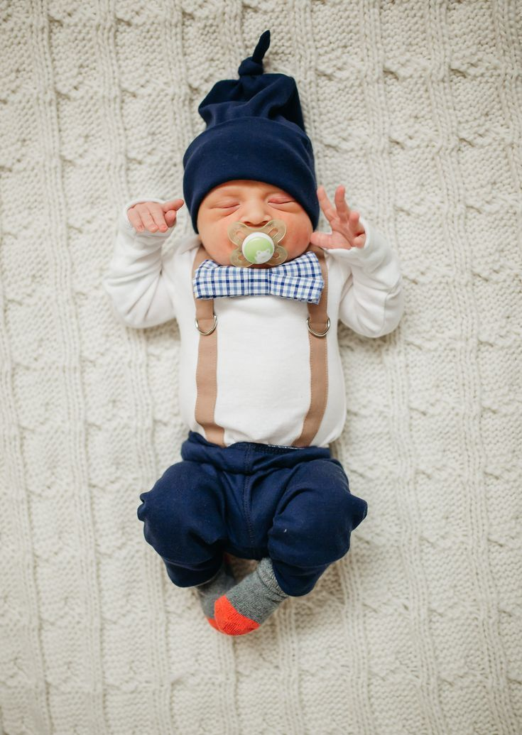 baby boy coming home outfit, with preppy bow tie, navy and ...
