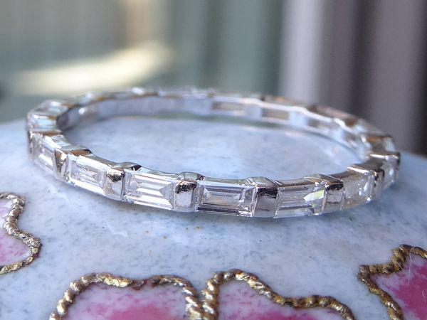 eternity band in set diamond baguette platinum gaum wedding gem bands image kurt soho channel