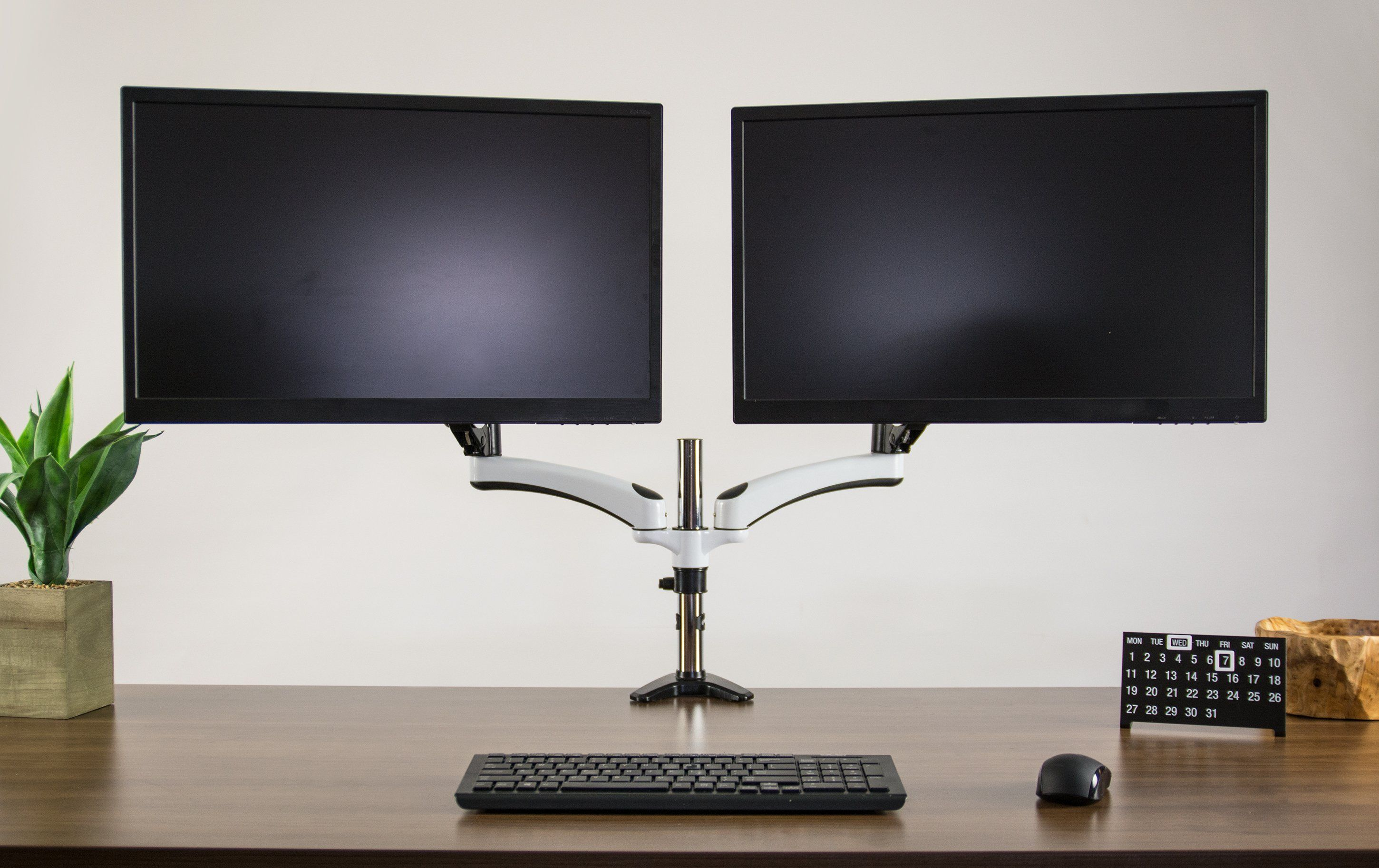 Stand V002jw White Pneumatic Arm Dual Monitor Desk Mount Buy