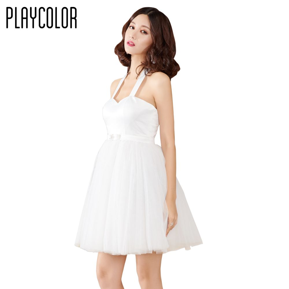 Playcolor white tulle girls cocktail dresses short mini